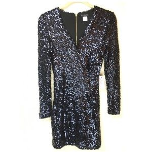 Long Sleeve Black Sequin Party Dress NWT